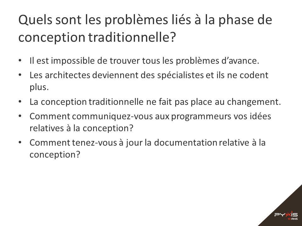 Quels sont les problèmes liés à la phase de conception traditionnelle