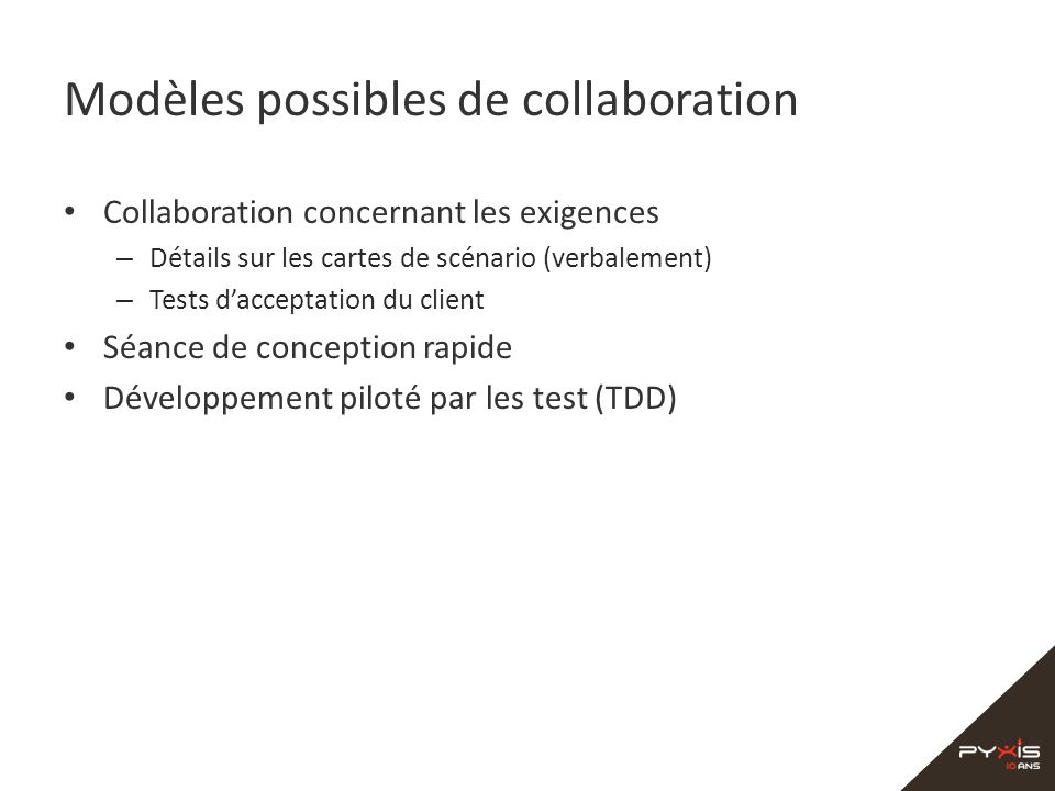Modèles possibles de collaboration