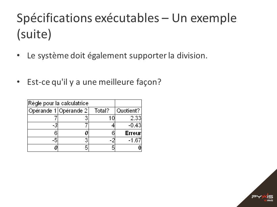 Spécifications exécutables – Un exemple (suite)