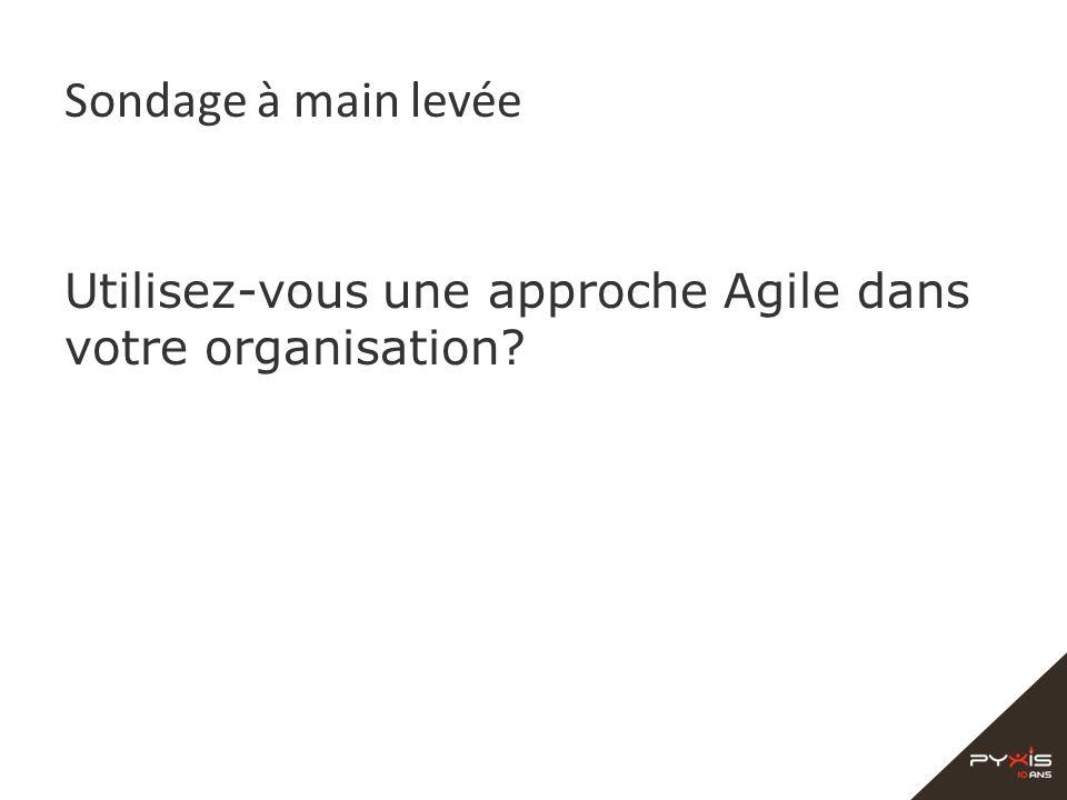 Sondage à main levée Utilisez-vous une approche Agile dans votre organisation