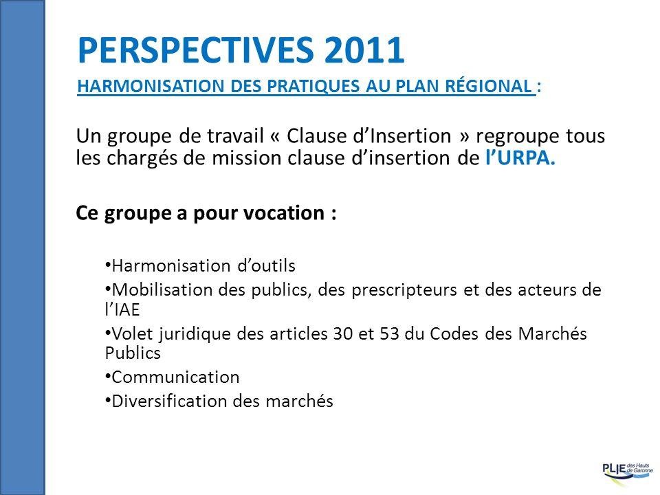 perspectives 2011 Harmonisation des pratiques au Plan Régional :
