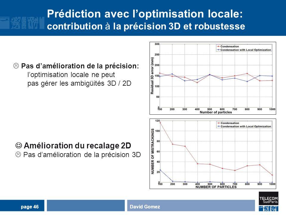 Prédiction avec l'optimisation locale: contribution à la précision 3D et robustesse