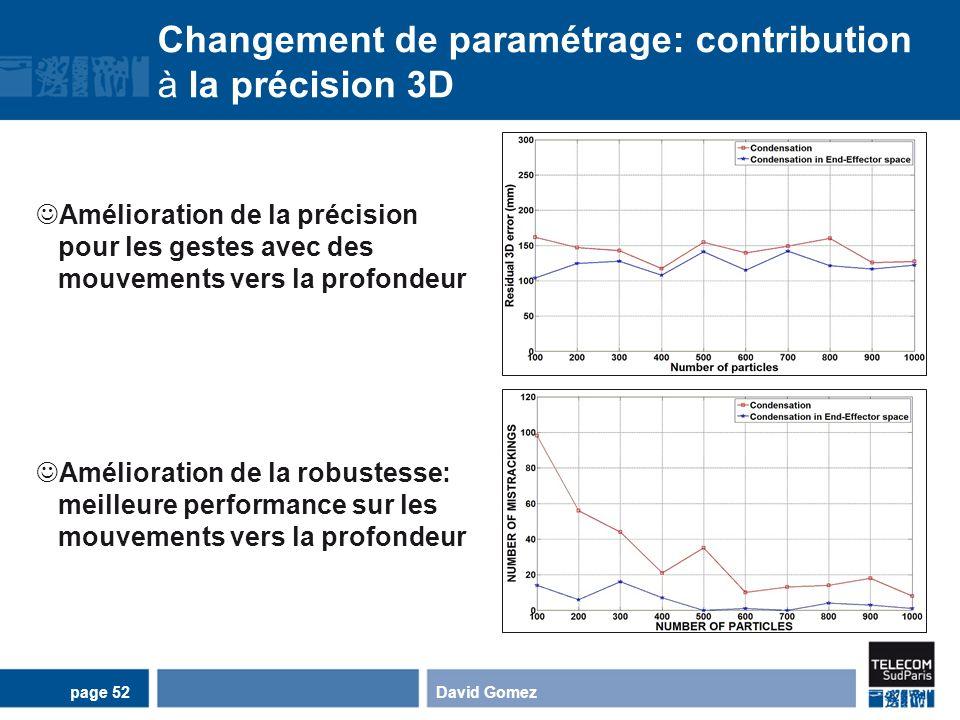 Changement de paramétrage: contribution à la précision 3D