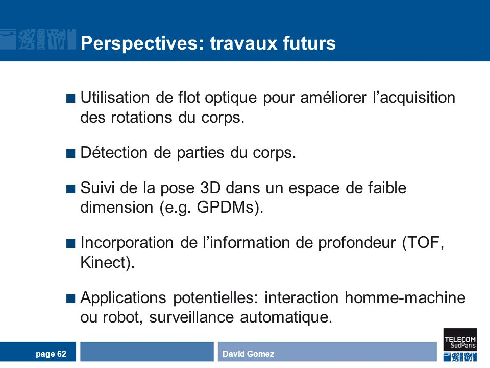 Perspectives: travaux futurs