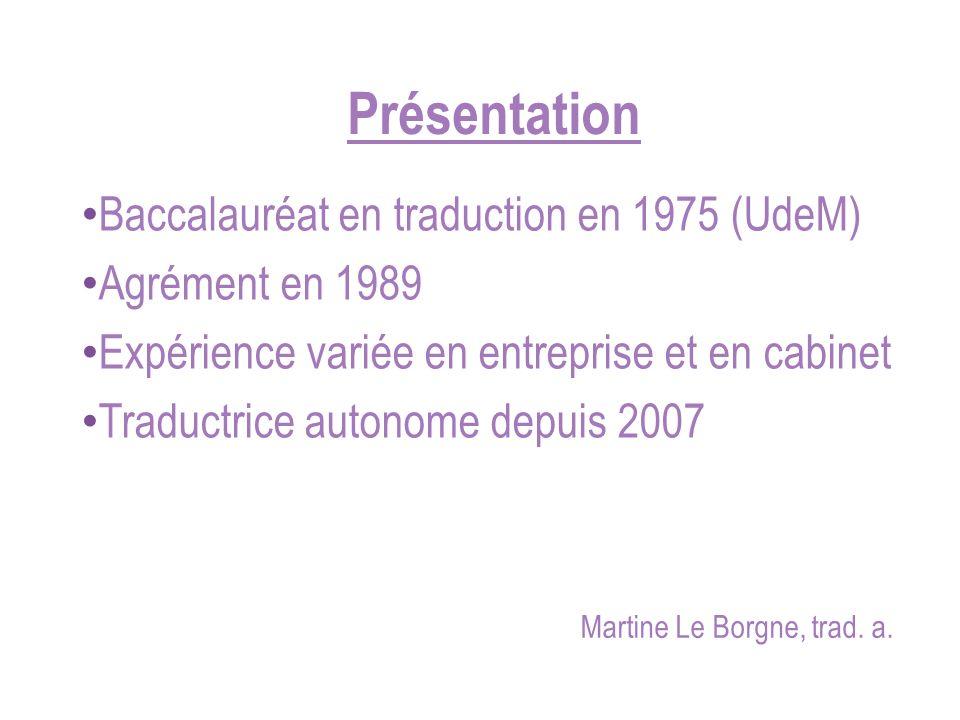 Présentation Baccalauréat en traduction en 1975 (UdeM)