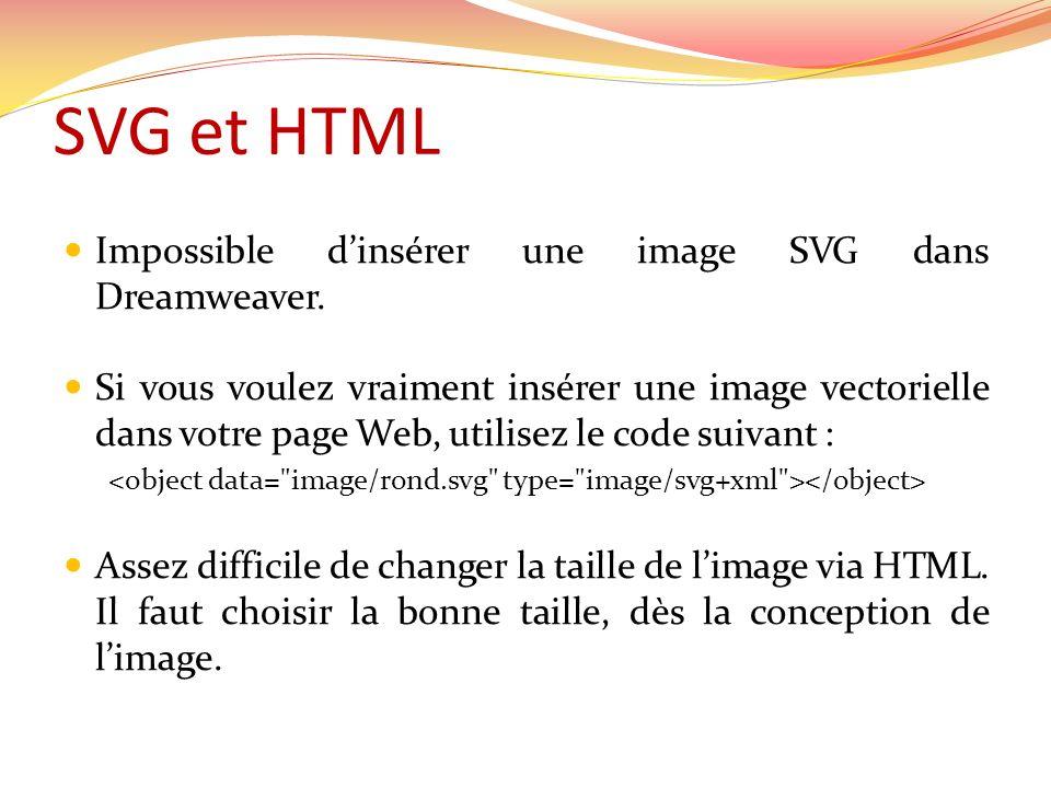 SVG et HTML Impossible d'insérer une image SVG dans Dreamweaver.