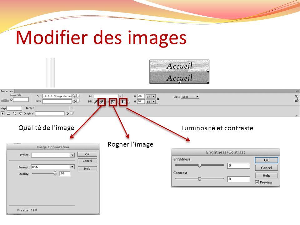 Modifier des images Qualité de l'image Luminosité et contraste