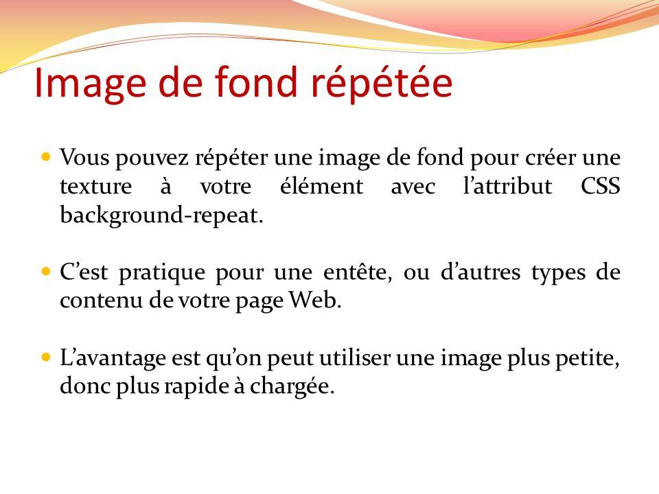 Image de fond répétée Vous pouvez répéter une image de fond pour créer une texture à votre élément avec l'attribut CSS background-repeat.