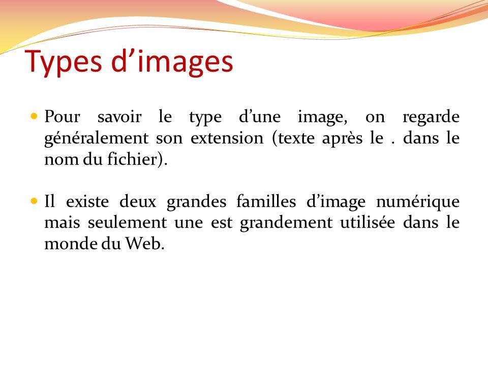 Types d'images Pour savoir le type d'une image, on regarde généralement son extension (texte après le . dans le nom du fichier).