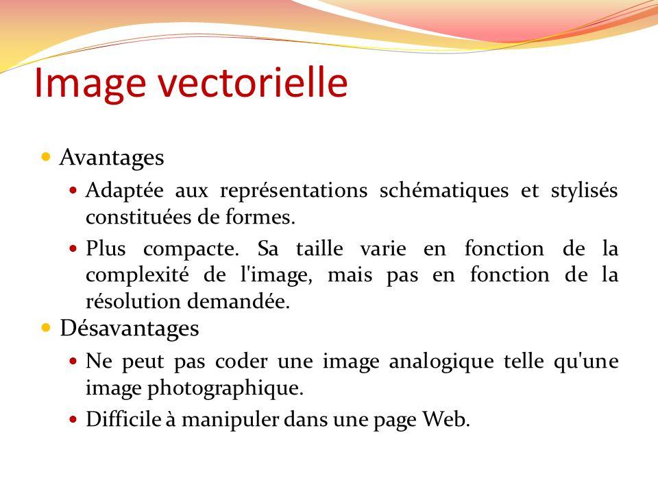 Image vectorielle Avantages Désavantages