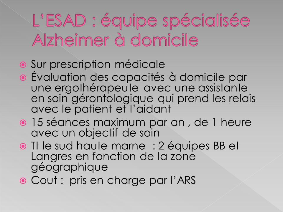 L'ESAD : équipe spécialisée Alzheimer à domicile