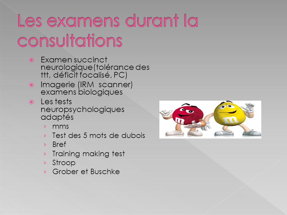 Les examens durant la consultations
