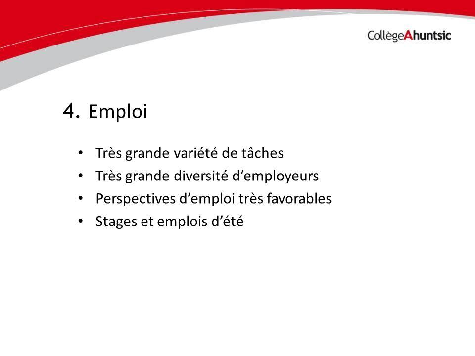 4. Emploi Très grande variété de tâches