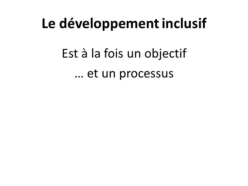 Le développement inclusif
