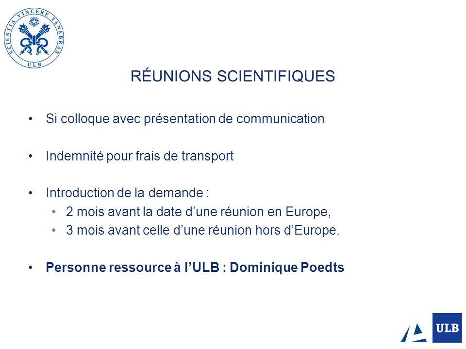 RÉUNIONS SCIENTIFIQUES
