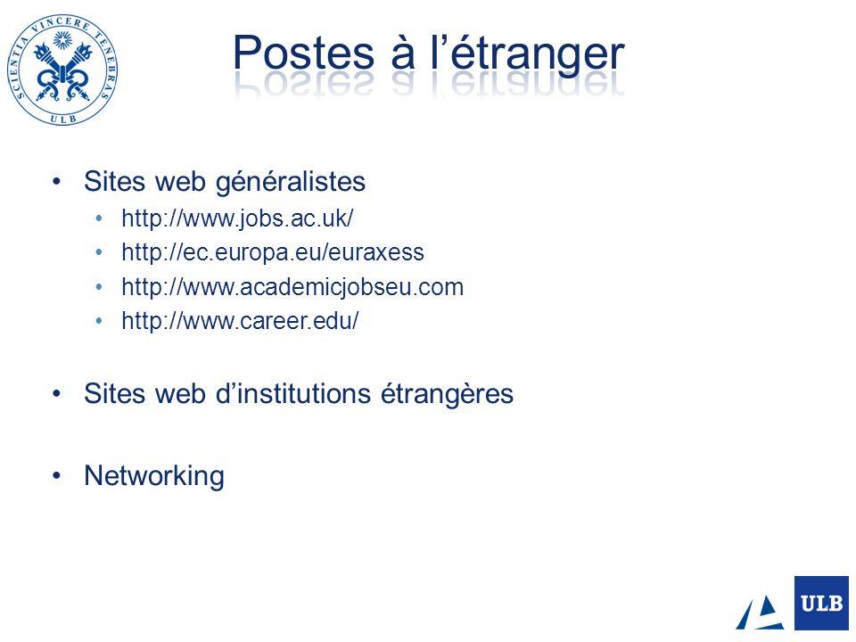 Postes à l'étranger Sites web généralistes