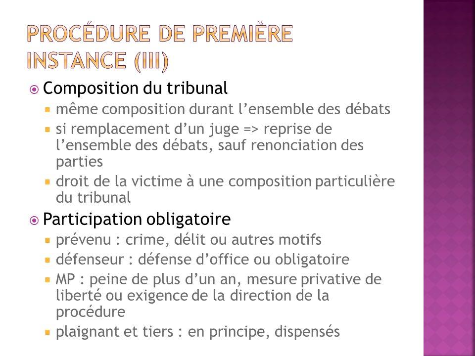 Procédure de première instance (III)