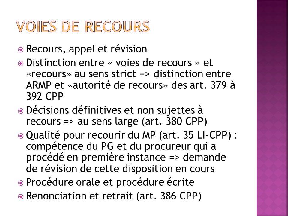 Voies de recours Recours, appel et révision