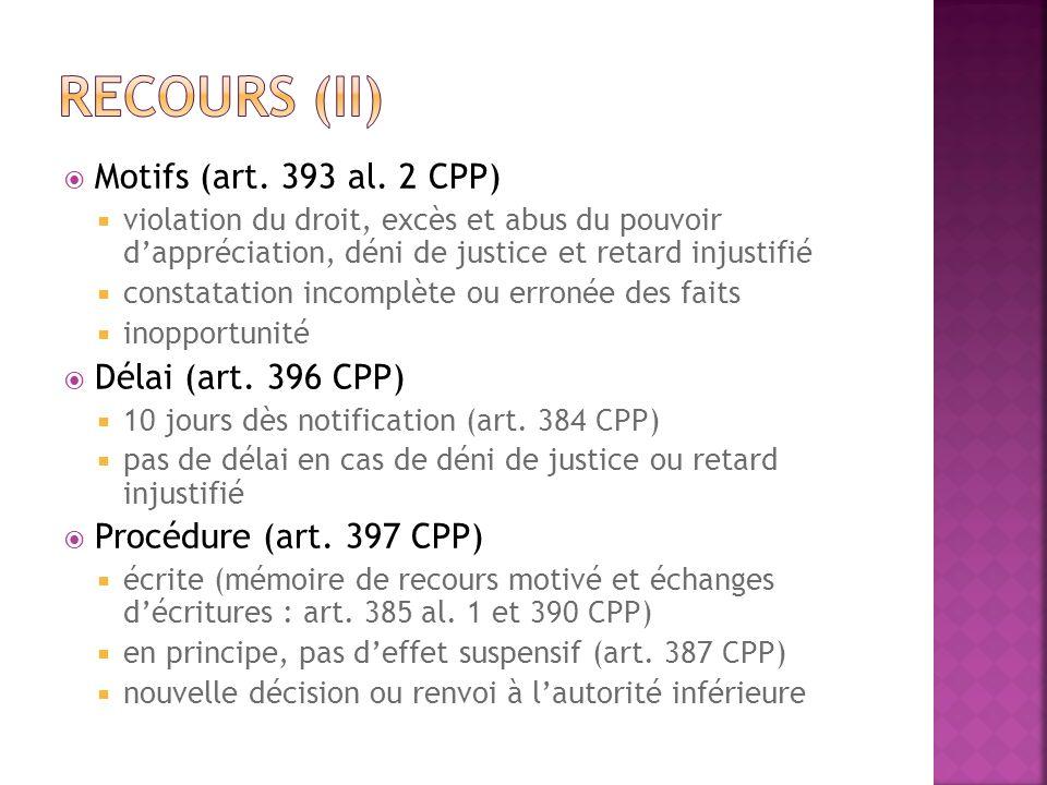 Recours (II) Motifs (art. 393 al. 2 CPP) Délai (art. 396 CPP)