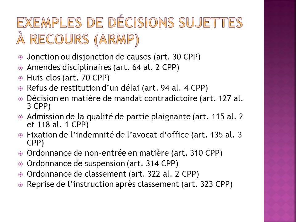 Exemples de décisions sujettes à recours (ARMP)