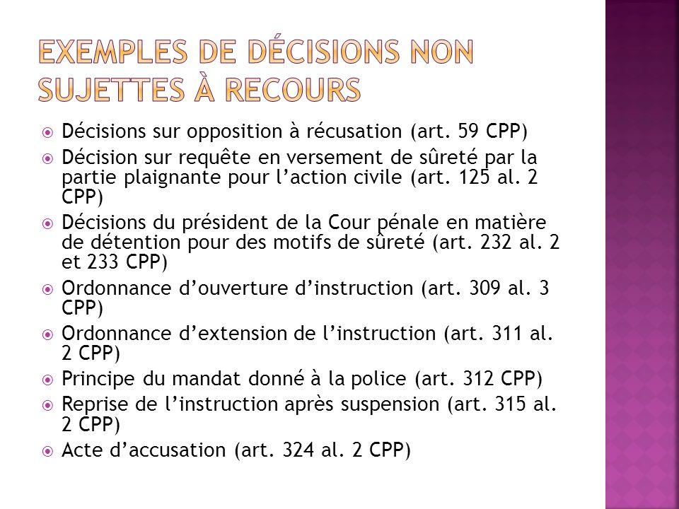Exemples de décisions non sujettes à recours