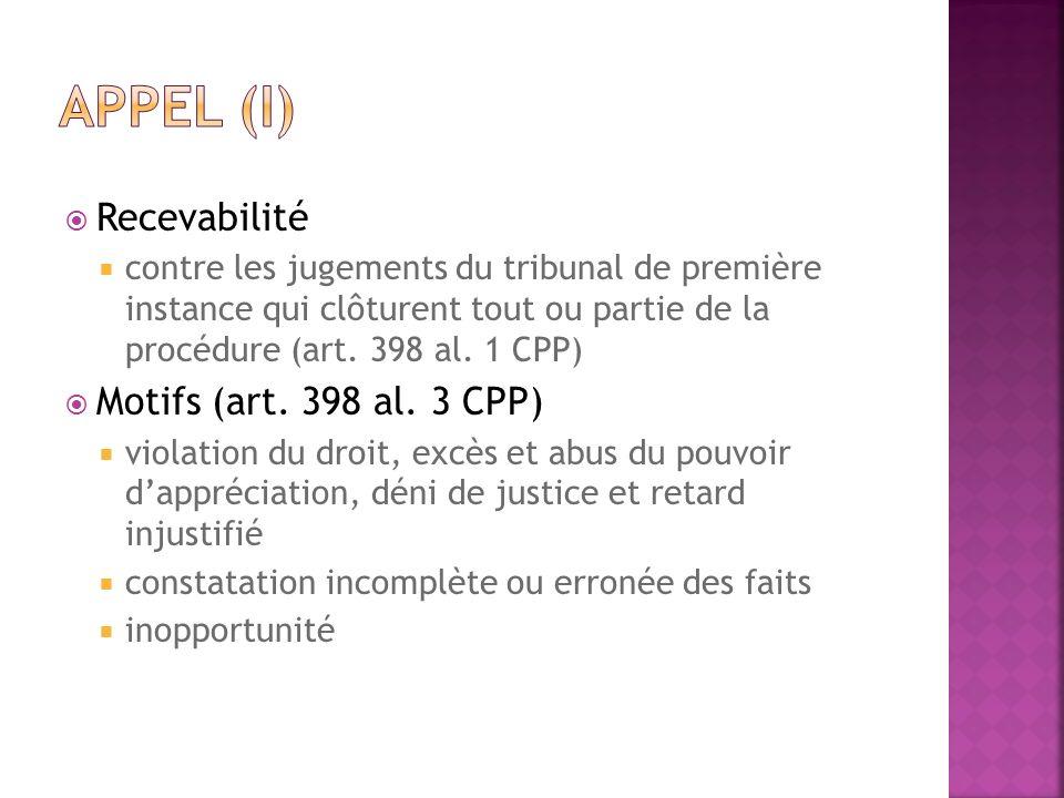 Appel (I) Recevabilité Motifs (art. 398 al. 3 CPP)