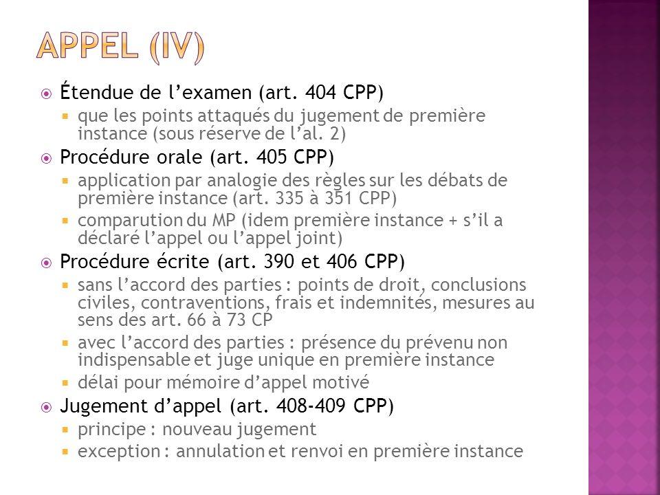 Appel (IV) Étendue de l'examen (art. 404 CPP)