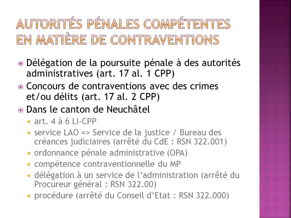 Autorités pénales compétentes en matière de contraventions