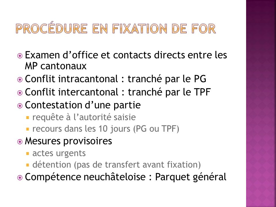 Procédure en fixation de for