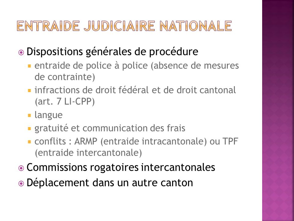 Entraide judiciaire nationale