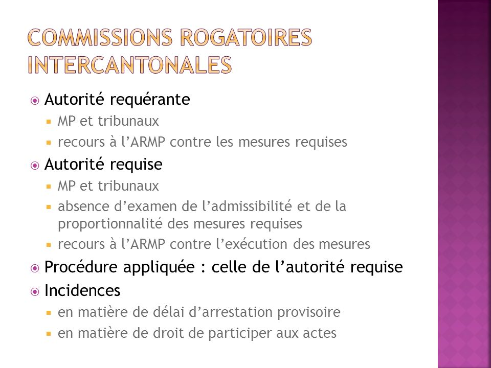 Commissions rogatoires intercantonales