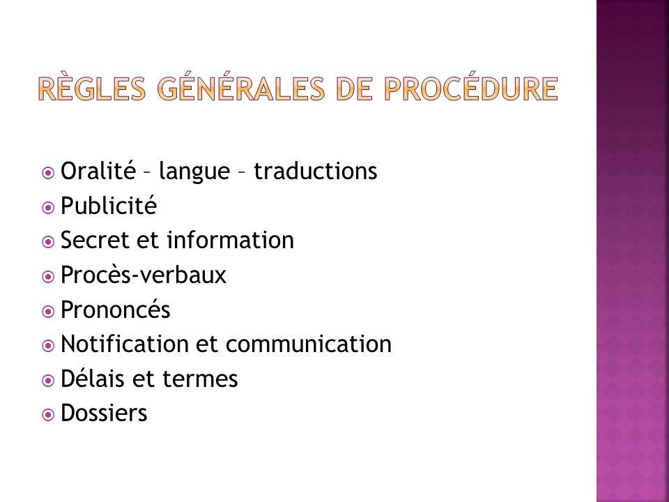 règles générales de procédure