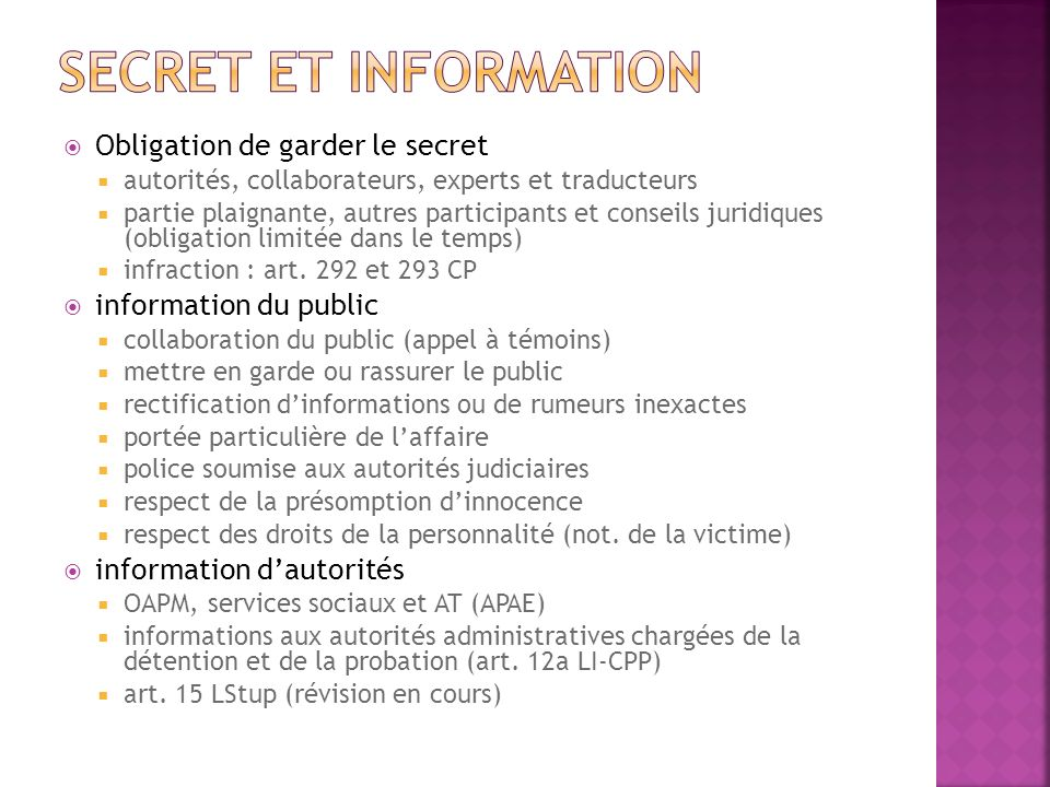 Secret et information Obligation de garder le secret