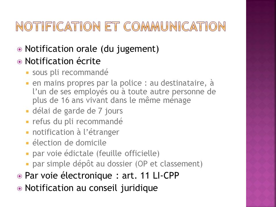 Notification et communication
