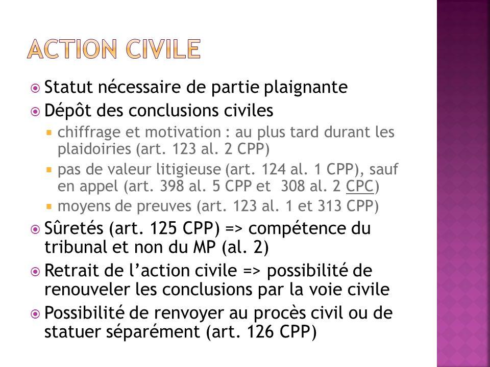 Action civile Statut nécessaire de partie plaignante
