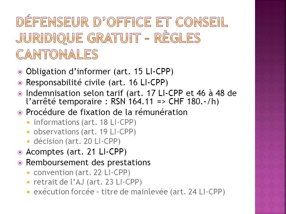 Défenseur d'office et conseil juridique gratuit – Règles cantonales