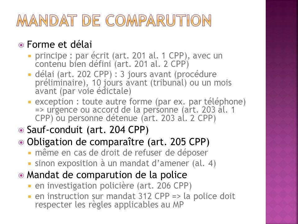 Mandat de comparution Forme et délai Sauf-conduit (art. 204 CPP)