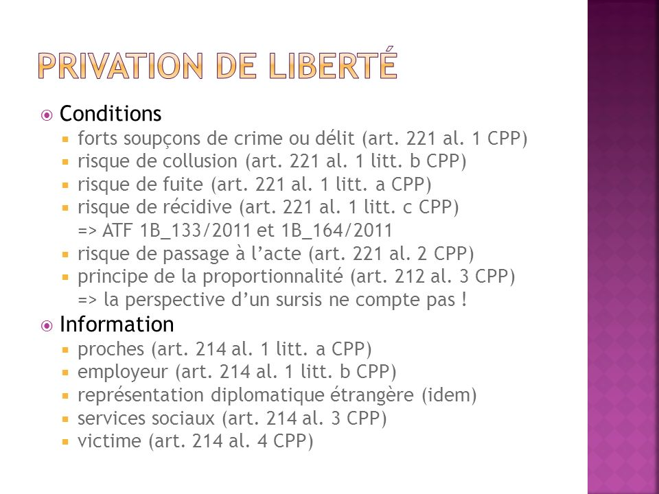 Privation de liberté Conditions Information