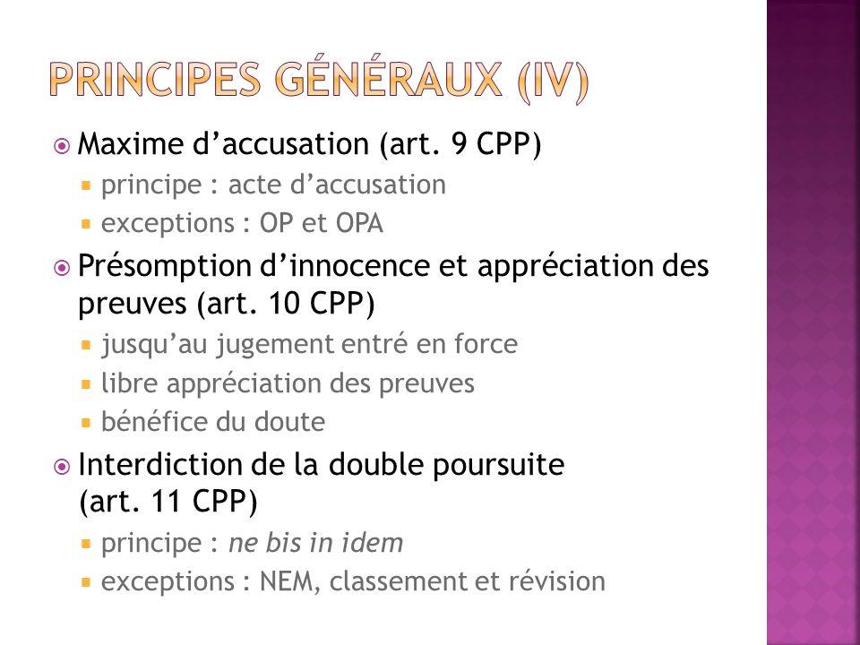 Principes généraux (IV)