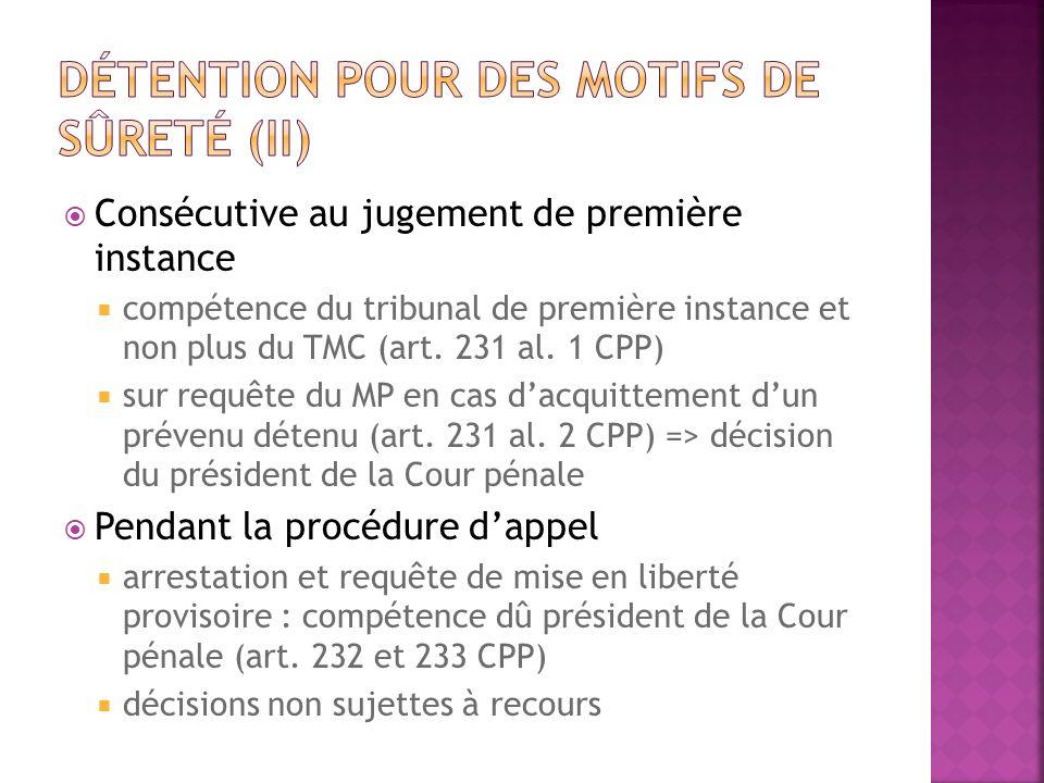 Détention pour des motifs de sûreté (II)