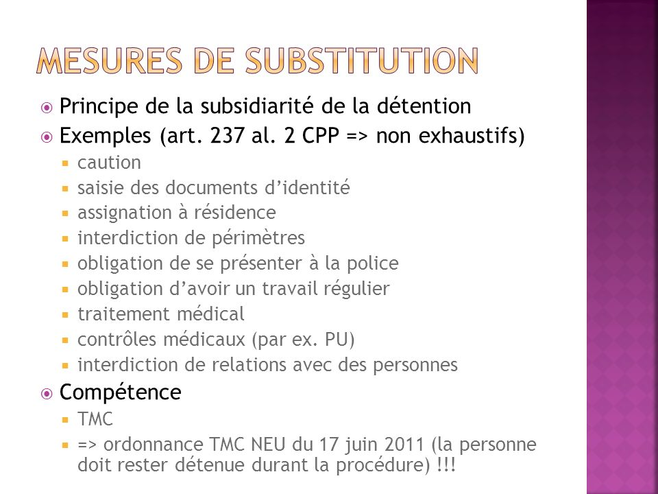 Mesures de substitution