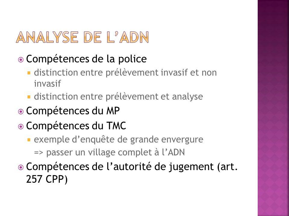 Analyse de l'adn Compétences de la police Compétences du MP