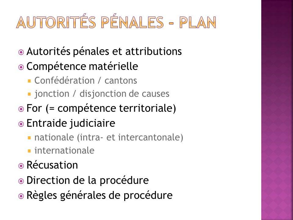 Autorités pénales - plan