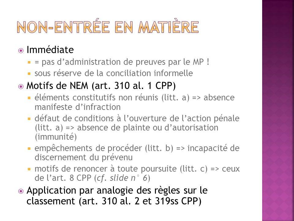 Non-entrée en matière Immédiate Motifs de NEM (art. 310 al. 1 CPP)