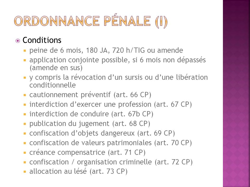 Ordonnance pénale (I) Conditions