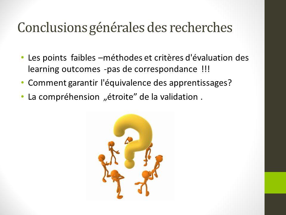 Conclusions générales des recherches