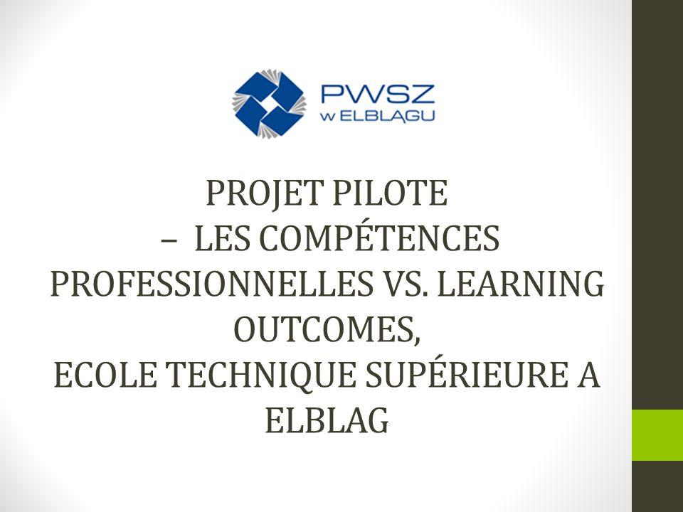 Projet pilote – Les compétences professionnelles vs
