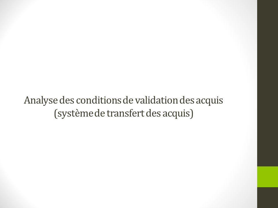 Analyse des conditions de validation des acquis (système de transfert des acquis)