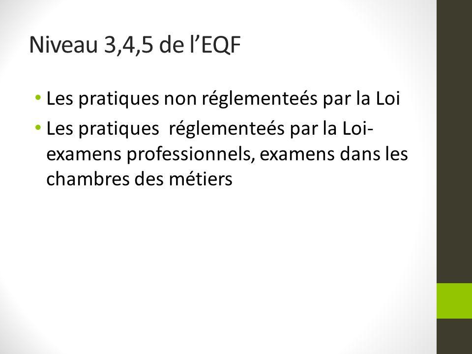 Niveau 3,4,5 de l'EQF Les pratiques non réglementeés par la Loi