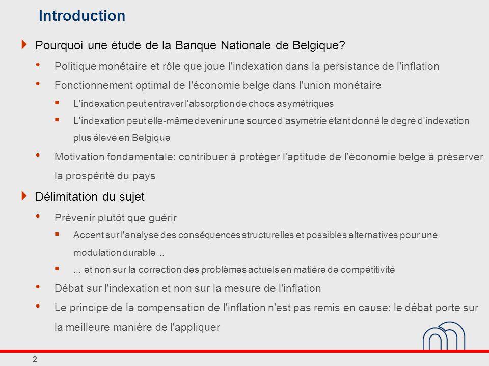 Introduction Pourquoi une étude de la Banque Nationale de Belgique